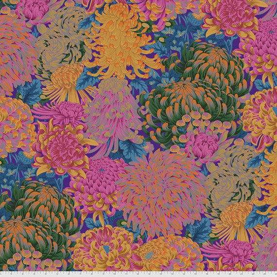 Kaffe Fassett Collective August 2021 -- Fat Quarter of Philip Jacobs Hokusai's Mums in Hot