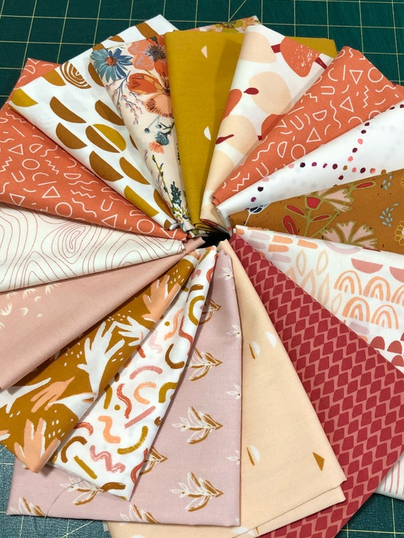 Fat Quarter Bundle of 16 Art Gallery Fabrics -- Terra Kotta mixed with other Art Gallery coordinates.