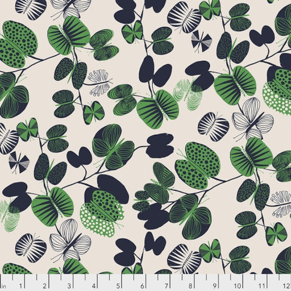 After the Rain by Bookhou for Anna Maria Horner Conservatory Chapter 3 with Free Spirit Fabrics- Fat Quarter of Butterfly Leaves in Jade