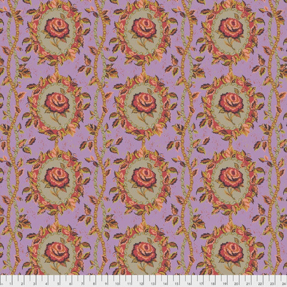 New Vintage by Kathy Doughty for Free Spirit Fabrics - Fat quarter of Charmed in Lilac