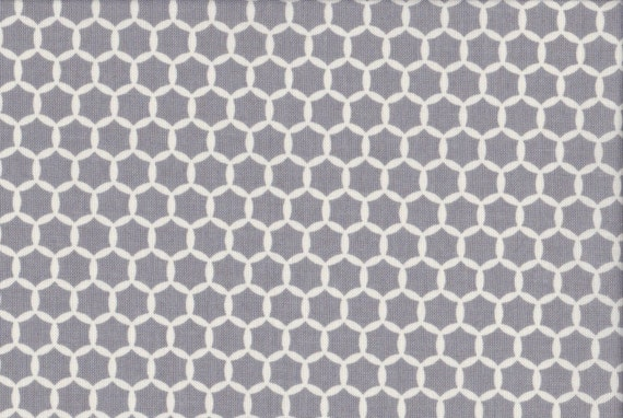 Japanese cotton fat quarter by Kei - Geostyle hexacomb dots in grey.