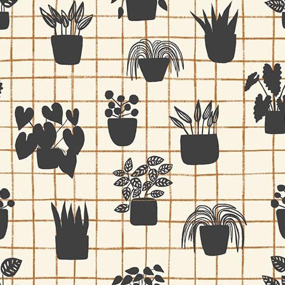 Home by Sarah Golden for Andover Fabrics - Fat Quarter of House Plants in Shale -- Cotton
