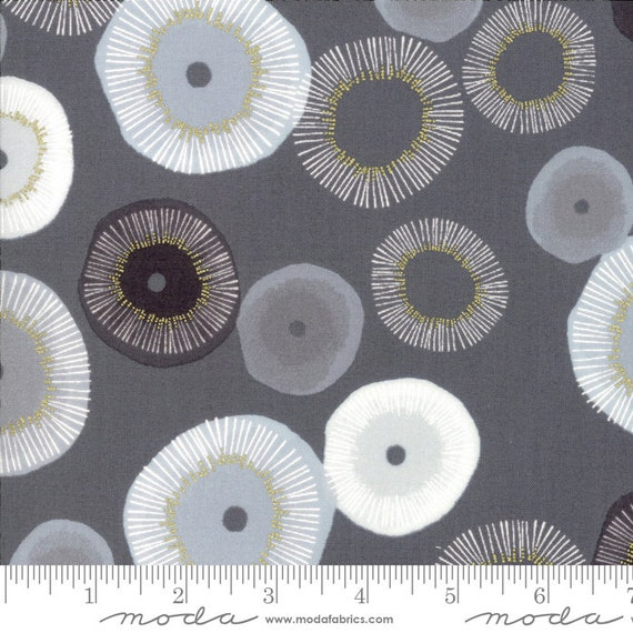 Day in Paris. -- Metallic Graphite in Blooming (1680 12M) by Zen Chic for Moda -- Fat Quarter