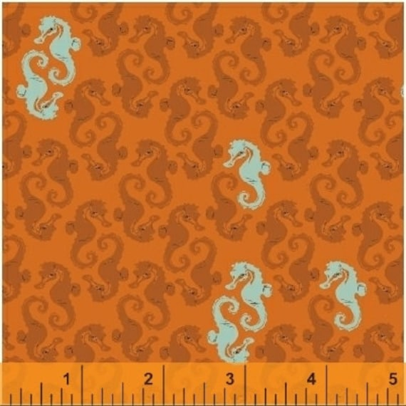 Heather Ross Mendocino for Windham Fabrics - Seahorses in Orange