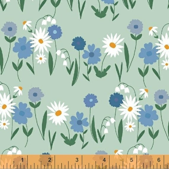 Daisy Chain by Annabel Wrigley for Windham Fabrics - Daisy Field in Seafoam