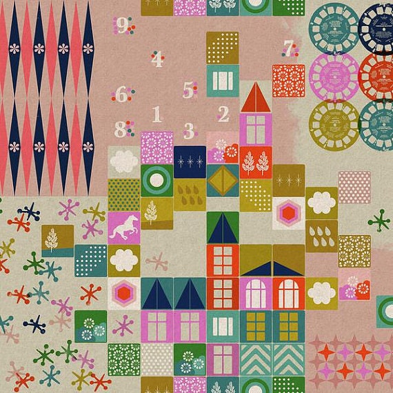 Playroom CANVAS in Pink from the Playful collection by Melody Miller for Cotton and Steel