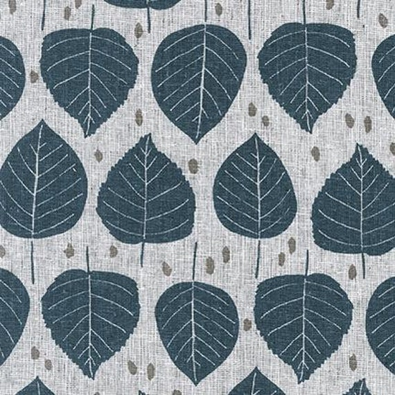 Quarry Trail by Anna Graham for Robert Kaufman, 100% Cotton Linen Canvas -- 25cm -- Birch in Charcoal