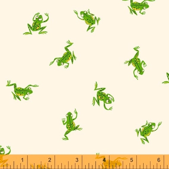 Heather Ross 20th Anniversary Collection for Windham Fabrics - Fat Quarter of Frogs in White