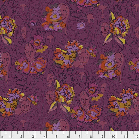 Long Distance by Courtney Cerruti for Anna Maria Horner Conservatory with Free Spirit Fabrics - Fat Quarter of Parlant Aux Fleurs in Begonia