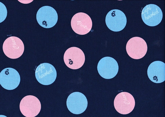 Lighthearted by Ayumi Takahashi for Kokka - Text Circles in Navy