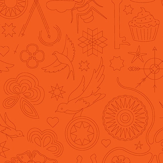 Sunprint 2020 by Alison Glass -- Fat quarter of Embroidery in Pumpkin