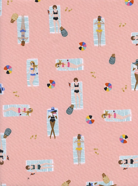Amalfi --  Fat Quarter of Sun Girls in Coral by Rifle Paper Company for Cotton and Steel