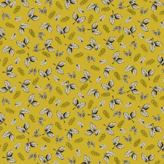 Botanica by Makower for Andover Fabrics - Leaf in Yellow - Fat Quarter