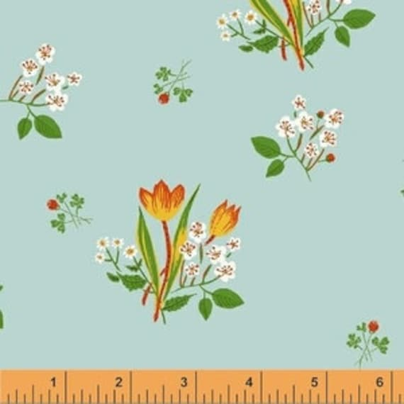 Heather Ross Kinder for Windham Fabrics - Fat Quarter Spring Blooms in Pale Blue