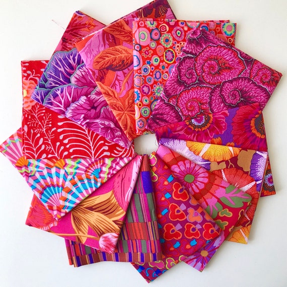 Red Fabrics by Kaffe Fassett Collective for Free Spirit Fabrics - Fat Quarter Bundle of 12 as shown in photo