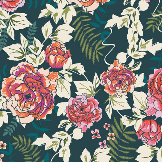 Trouvaille by AGF Studios for Art Gallery Fabrics -  Fat Quarter of Everblooming Camellias in Aglow