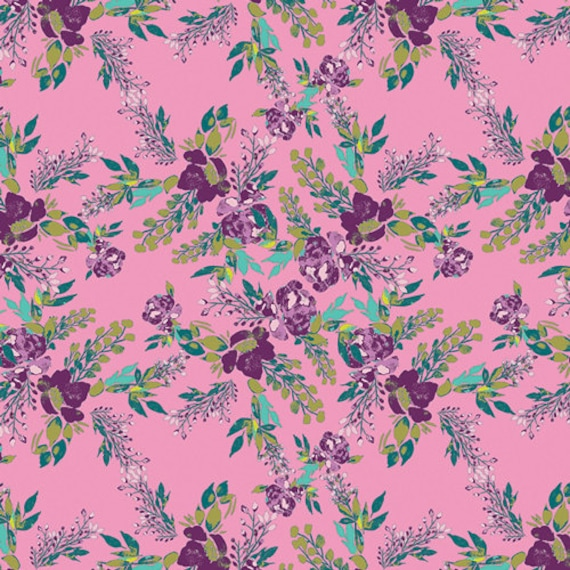Virtuosa by Bari J. for Art Gallery Fabrics -  Fat Quarter of Episodic Blooms in Rosa