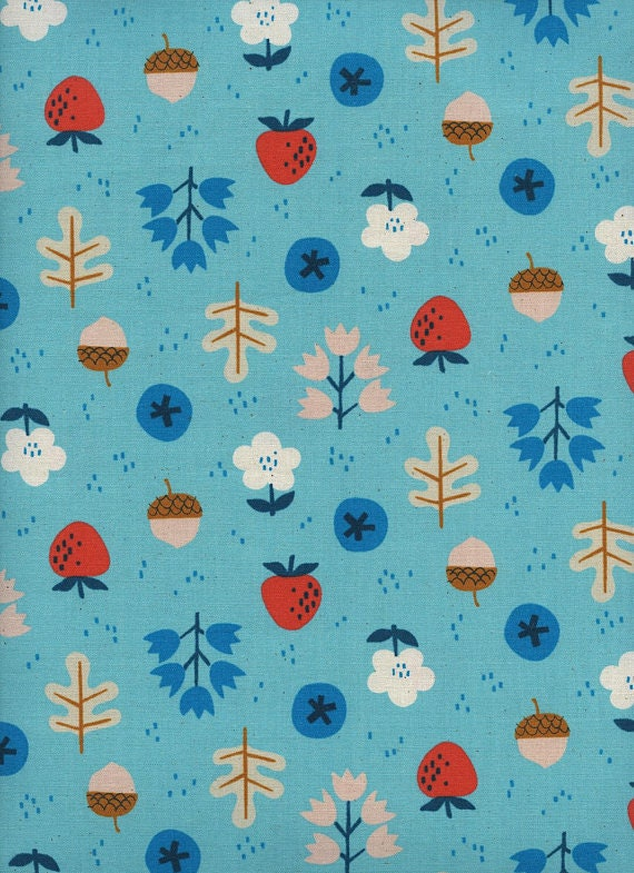 Welsummer by Kimberly Kight for Cotton and Steel -- Fat Quarter of Forage in Bright Blue