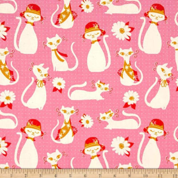 Beauty Shop -- Fancy Cats in Pink by Melody Miller and Sarah Watts for Cotton and Steel