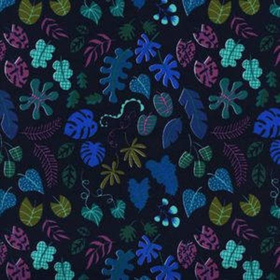 Lagoon --  Leafy Wonder in Navy by Rashida Coleman Hale for Cotton and Steel