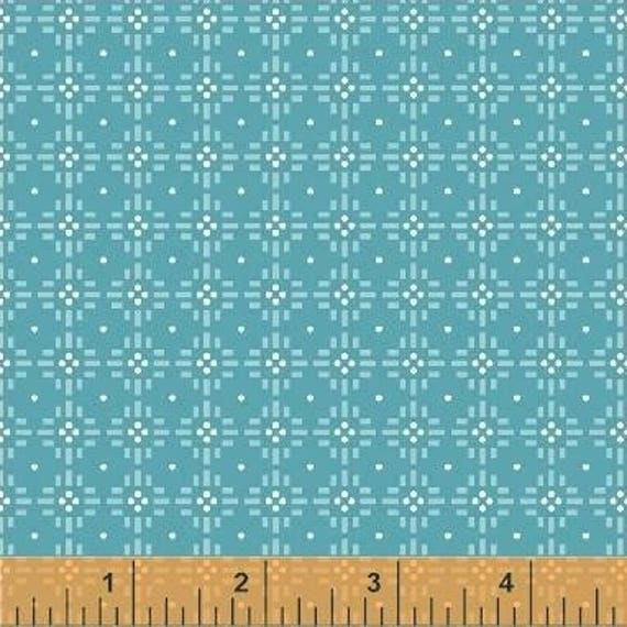 Uppercase Volume 2 by Janine Vangool for Windham Fabrics - Flower Stitch in Turquoise - Fat Quarter