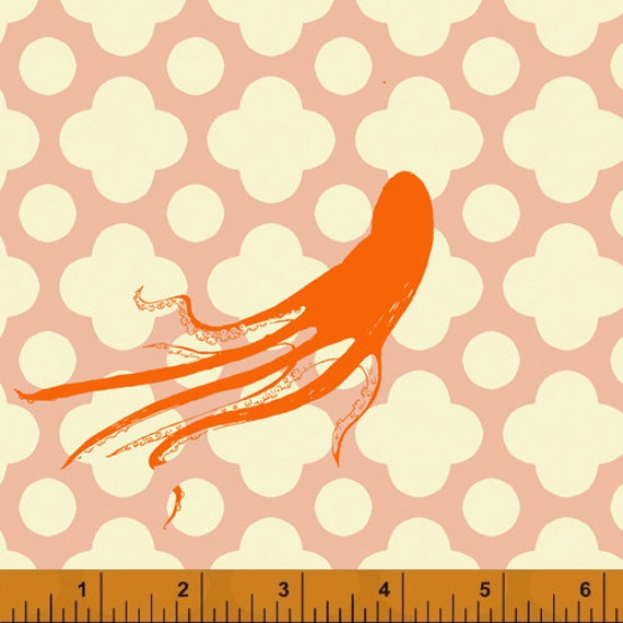 Heather Ross Mendocino for Windham Fabrics - Large Octopus in Blush