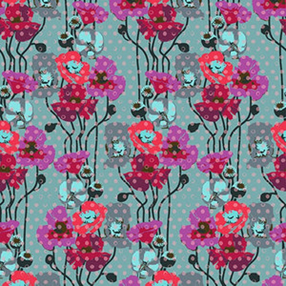 Floral Retrospective by Anna Horner for Free Spirit Fabrics - Raindrop Poppies in Plum