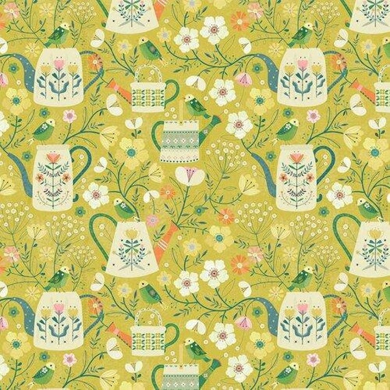 Hedgerow by Bee Brown for Dashwood Studio - Watering Cans - Fat Quarter