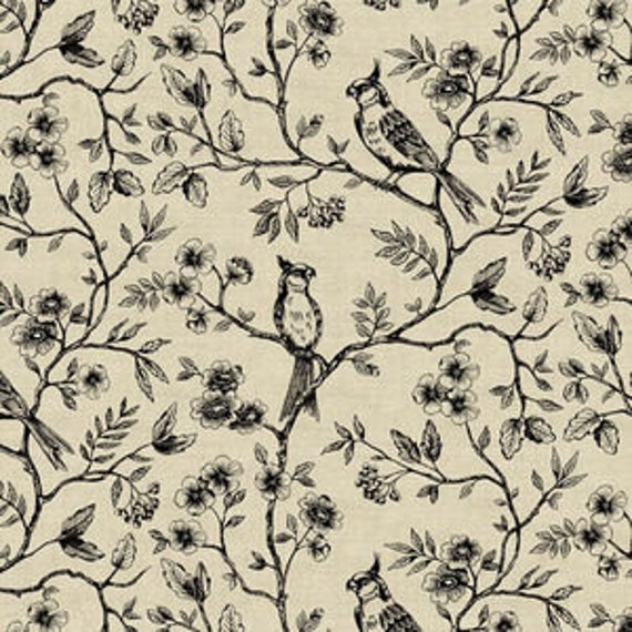 Botanica by Makower for Andover Fabrics - Birds on Vine in Neutral - Fat Quarter