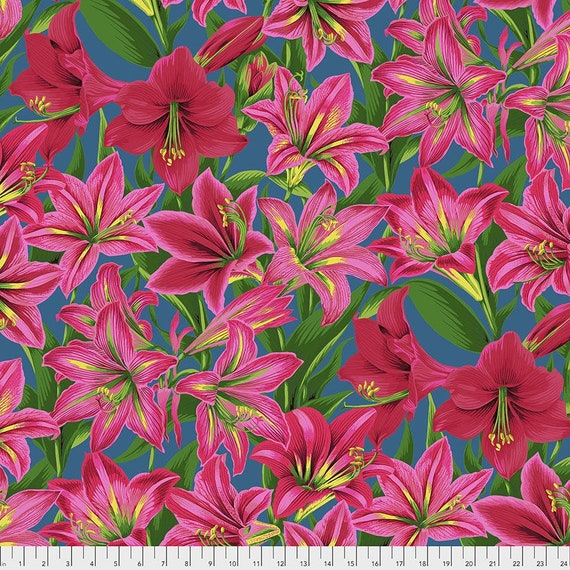 Kaffe Fassett Collective August 2020 -- Fat Quarter of Philip Jacobs Armaryllis in Red