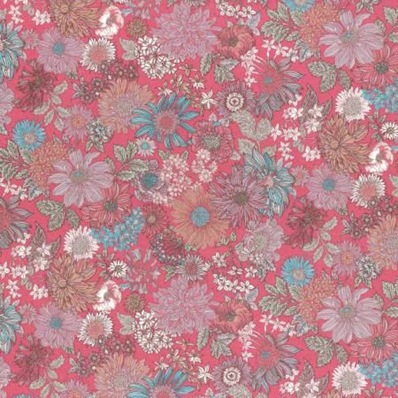 Lecien Memoire A Paris LAWN - Fat Quarter in Pink and Blue Floral