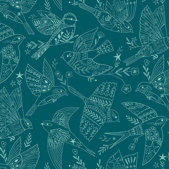 Aviary by Bethan Janine for Dashwood Studio - Fat Quarter of Birds in Flight in Teal