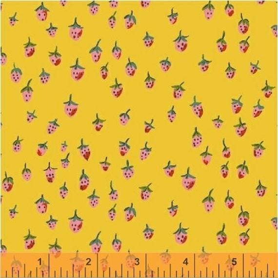 Heather Ross Trixie for Windham Fabrics - Fat Quarter Field Strawberries in Gold