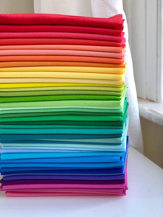 42 Fat Quarters of Michael Miller Cotton Couture - Rainbow Sampler