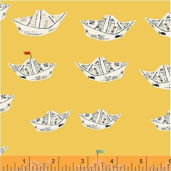 Heather Ross Far Far Away 2 for Windham Fabrics - Fat Quarter of Boats in Yellow