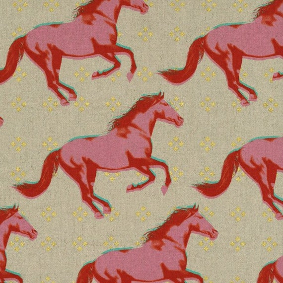 Gallop CANVAS in Pink Metallic  from the Mustang collection by Melody Miller for Cotton and Steel