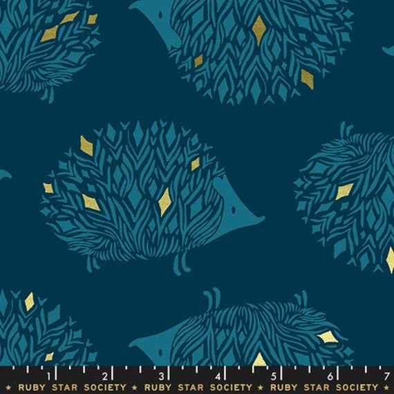 Darlings -- Hedgehogs in Metallic Dark Teal (RS5017-12M) by Ruby Star Society for Moda -- Fat Quarter