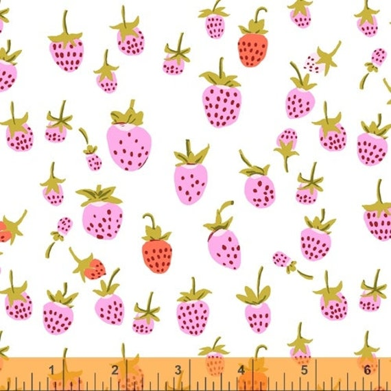 Heather Ross 20th Anniversary Collection for Windham Fabrics - Fat Quarter of Strawberry in Lilac