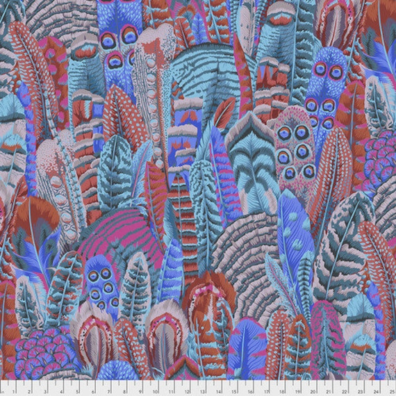 Kaffe Fassett Collective Fall 2018 -- Fat Quarter of Philip Jacobs Japanese Feathers in Turquoise