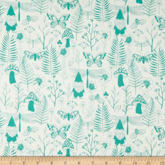 Front Yard -- Garden in Teal by Sarah Watts for Cotton and Steel