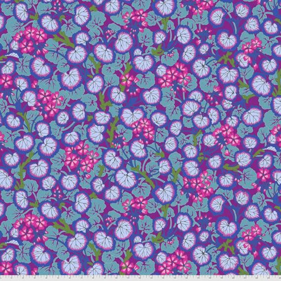 Kaffe Fassett Collective August 2021 -- Fat Quarter of Philip Jacobs Climbing Geraniums in Purple