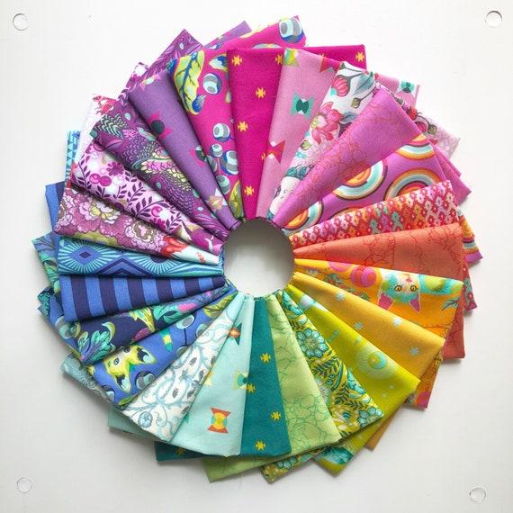 Rainbow Fat Quarter Bundle of 24 by Tula Pink for Free Spirit Fabrics
