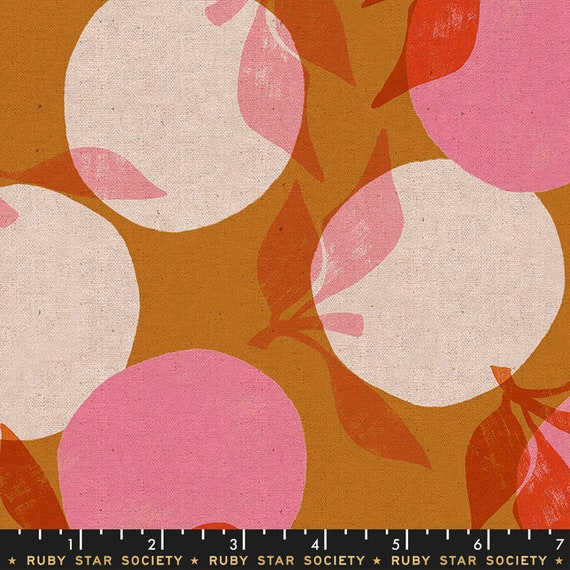 Peaches, RS5022-14L Gold, Ruby Star Society Fabric, 100% Cotton Linen Canvas -- Fat Quarter