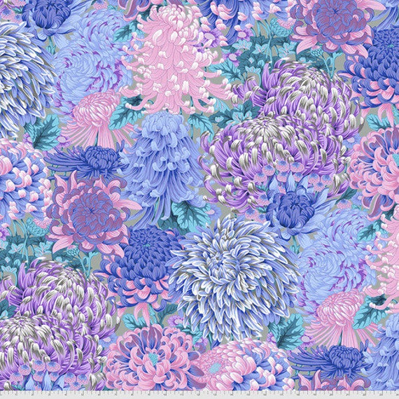 Kaffe Fassett Collective August 2021 -- Fat Quarter of Philip Jacobs Hokusai's Mums in Grey