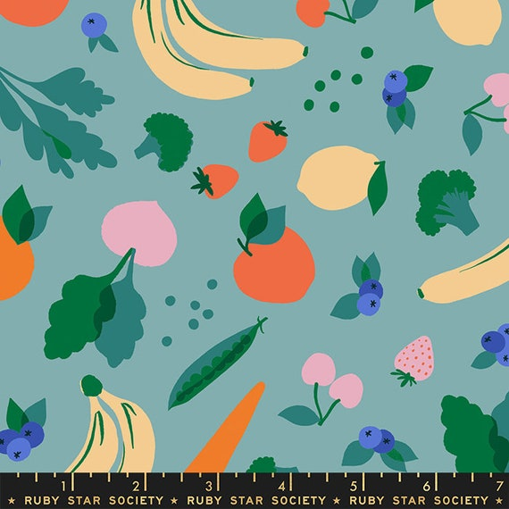 Food Group Green Grocer in Ocean (RS5037 13) by Ruby Star Society -- Fat Quarter