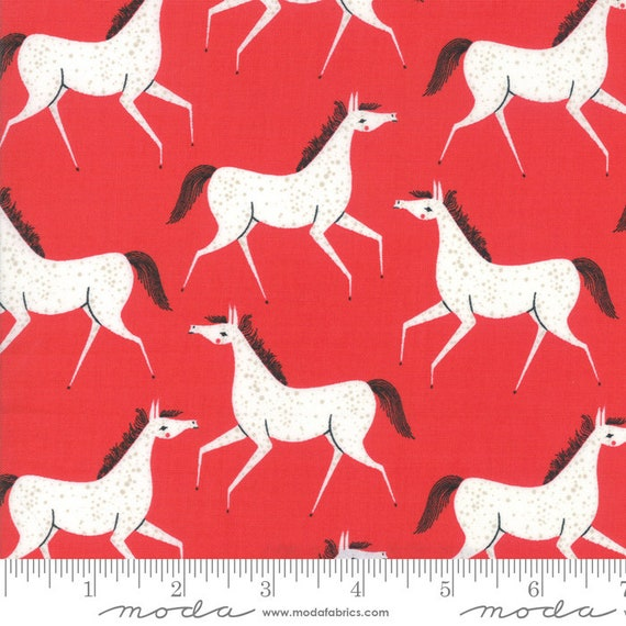 Farm Charm -- Pony Party in Rooster Red (48293 14) by Gingiber for Moda -- Fat Quarter