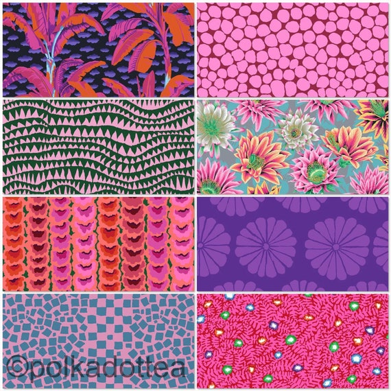February2021 -Kaffe Fassett Collective - Fat quarter bundle of 8 in Purple