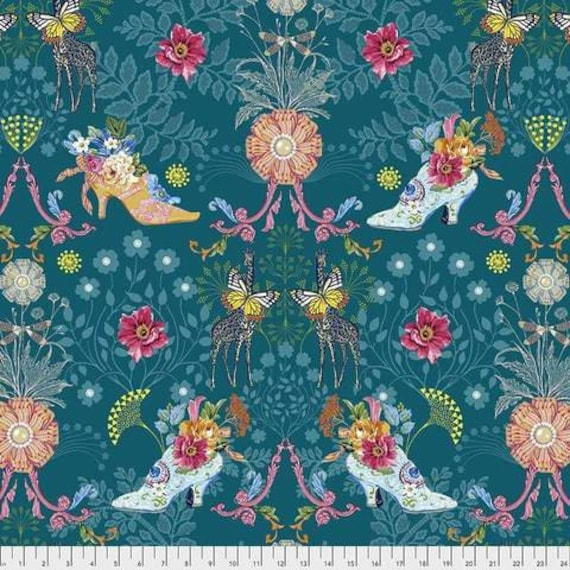 Jardin de la Reine by Odile Bailloeul for Free Spirit Fabrics - Fat quarter of Royal Expedition in Teal