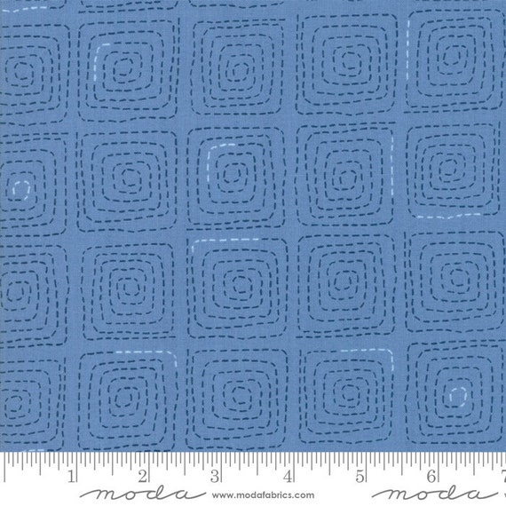 Breeze -- Stitched in French Blue (1693 16) by Zen Chic for Moda -- Fat Quarter