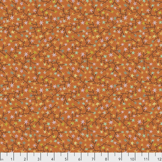 New Vintage by Kathy Doughty for Free Spirit Fabrics - Fat quarter of Tangled in Tangerine